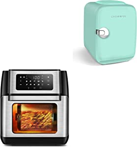 CROWNFUL 4 Liter/6 Can Portable Mini Fridge(Green) and 9-in-1 Air Fryer Toaster Oven