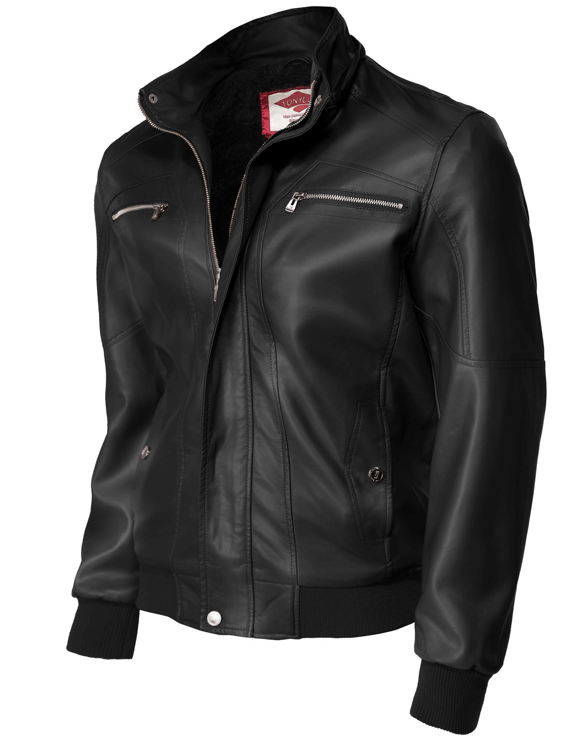 Romovable hooded Motorcycle Faux Leather Jackets,Black-1XL
