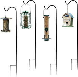 Ashman Adjustable Shepherd's Hooks, Black, Set of 4 made of Premium Metal for Hanging Solar Lights, Bird Feeders, Mason Jars, Flower Basket, Christmas Lights, Lanterns, Garden Stakes and Wedding Decor