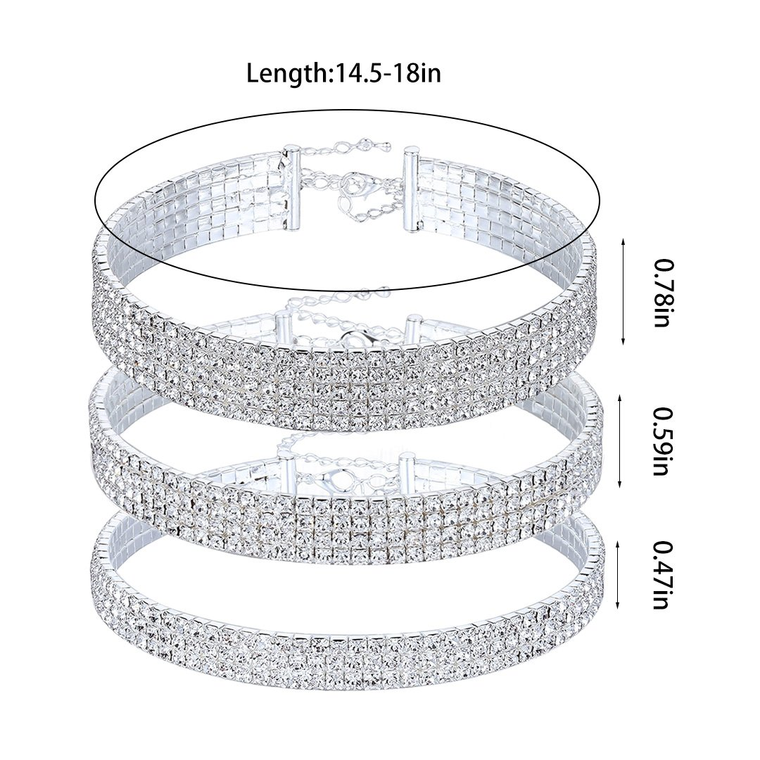 Naimo 3pcs Diamond Crystal Rhinestone Choker Necklace Wedding Collar Necklace (Included 3/4/5 row) by Naimo (Image #5)