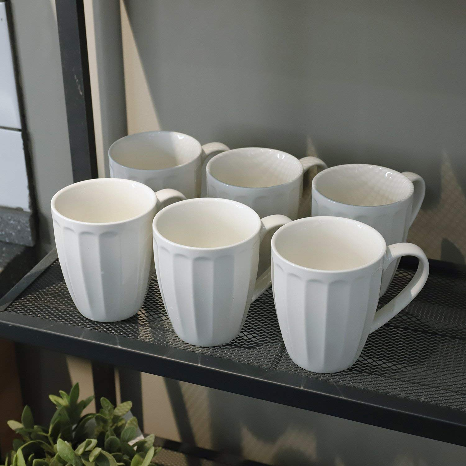 Sweese 6208 Porcelain Fluted Mugs - 14 Ounce for Coffee, Tea, Cocoa, Set of 6, White by Sweese (Image #4)