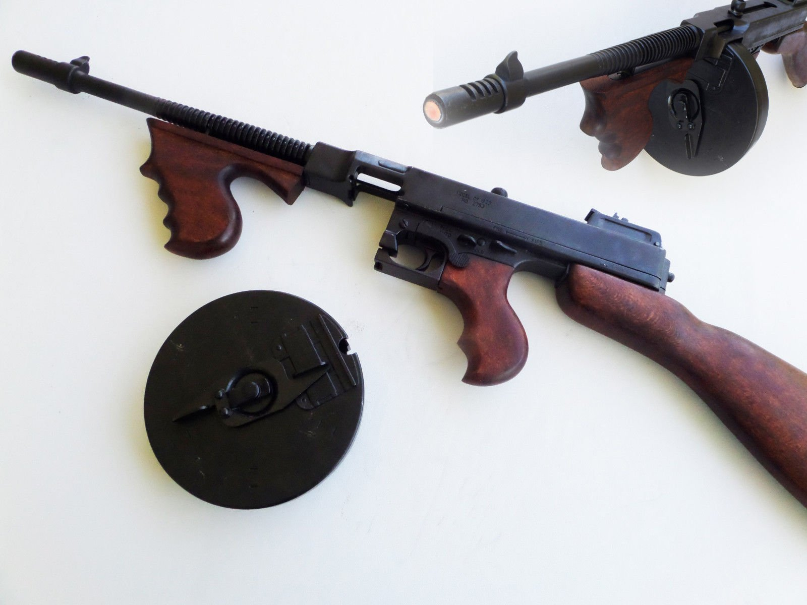 Thompson tommy New wood metal Made Display SMG & Drum Magazine Gangster Style- prop TOY