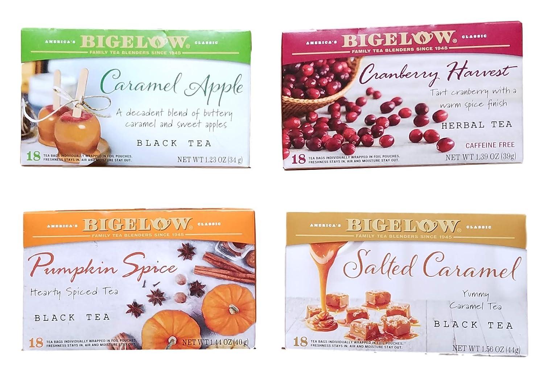 Caramel Apple, Cranberry Harvest, Pumpkin Spice, Salted Caramel - Tea Bags - Limited Edition Fall Variety Bundle of 4 - 72 Total Tea Bags