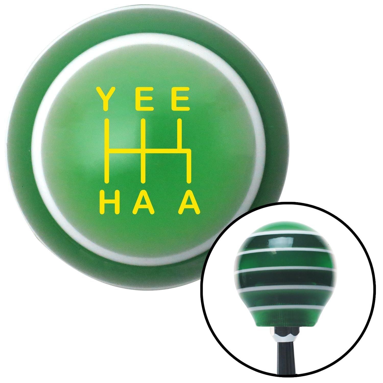 American Shifter 301855 Shift Knob Yellow YeeHaa 5 Speed Green Stripe with M16 x 1.5 Insert