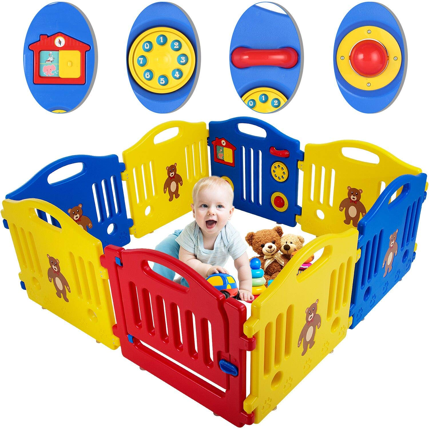 B00XYW7KKY Baby Playpen for Babies Baby Play Playards 8 Panels Infants Toddler Baby Fence Safety Kids Play Pens Indoor with Activity Board 718ZfaV10fL._SL1500_