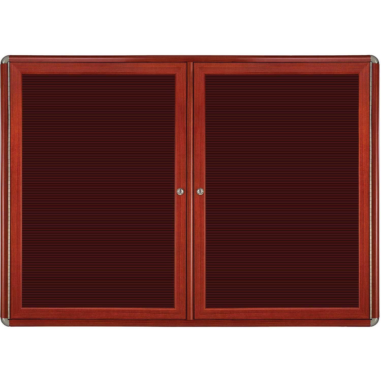 Ovation 2-Door Ovation Wood Look Felt Letter Board Size: 34'' H x 47'' W x 2.13'' D, Color: Chrome, Frame Finish: Cherry