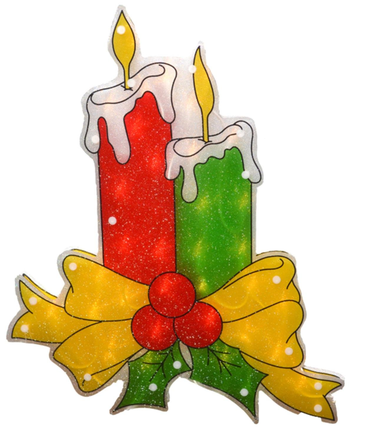 Sienna 17'' Lighted Double-Sided Shimmering Candle Christmas Window Silhouette