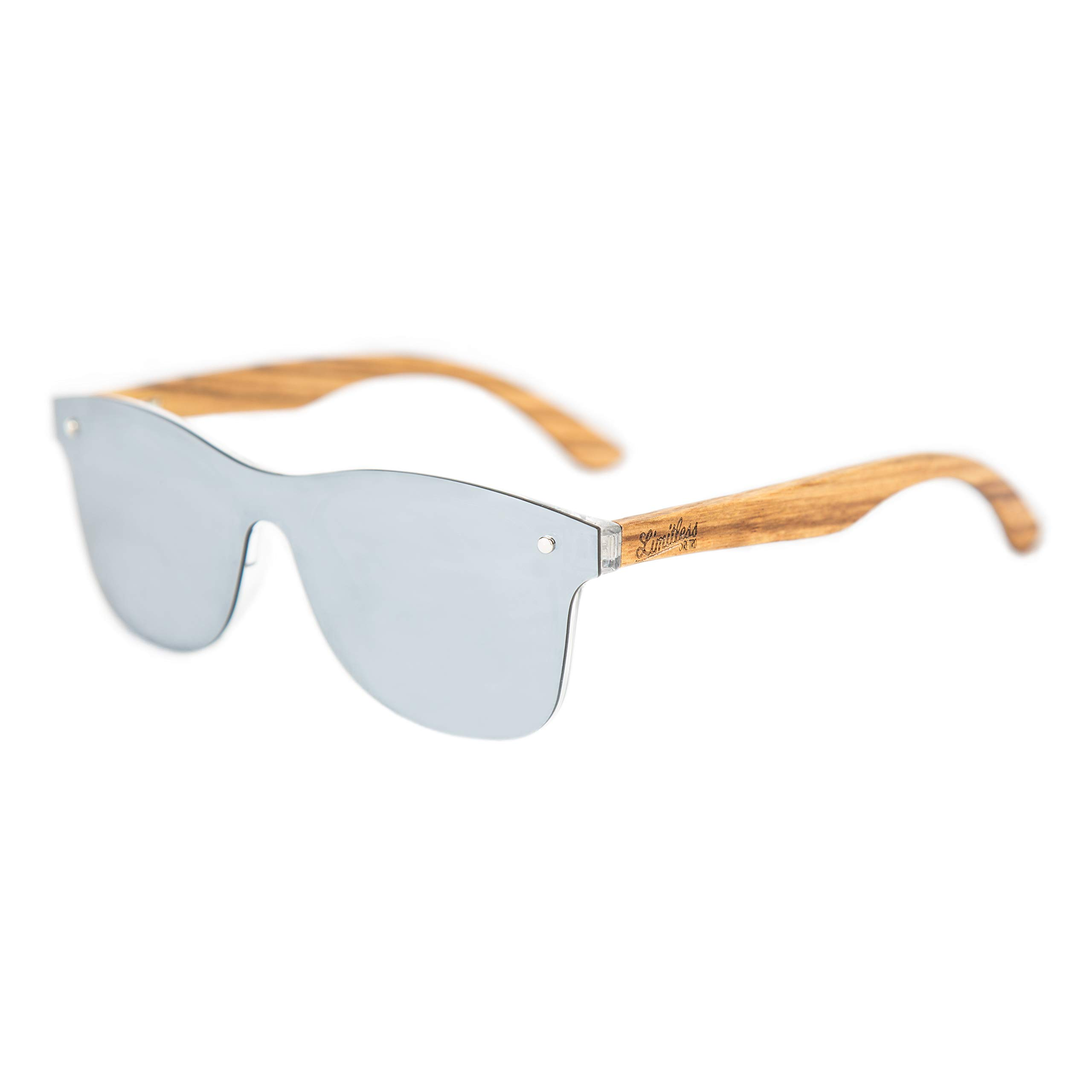 Limitless Wooden Sunglasses, Wooden Retro Frameless Sunglasses, Vintage Mirror UV400 Polarized Rimless Eyewear (Retro Silver, Silver)