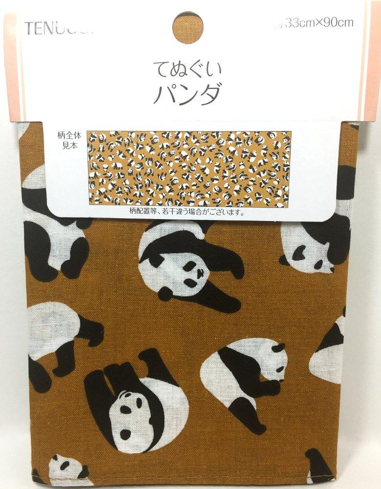 Japanese Traditional Towel Tenugui Cute panda , 35×13inch Cotton100%