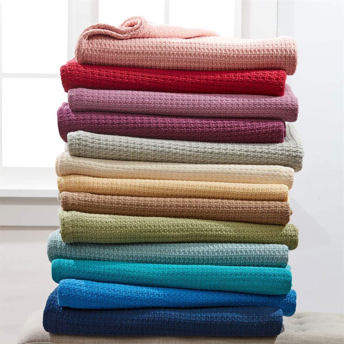 BrylaneHome Studio Primrose Cotton Blanket (Spa,Full/Queen)