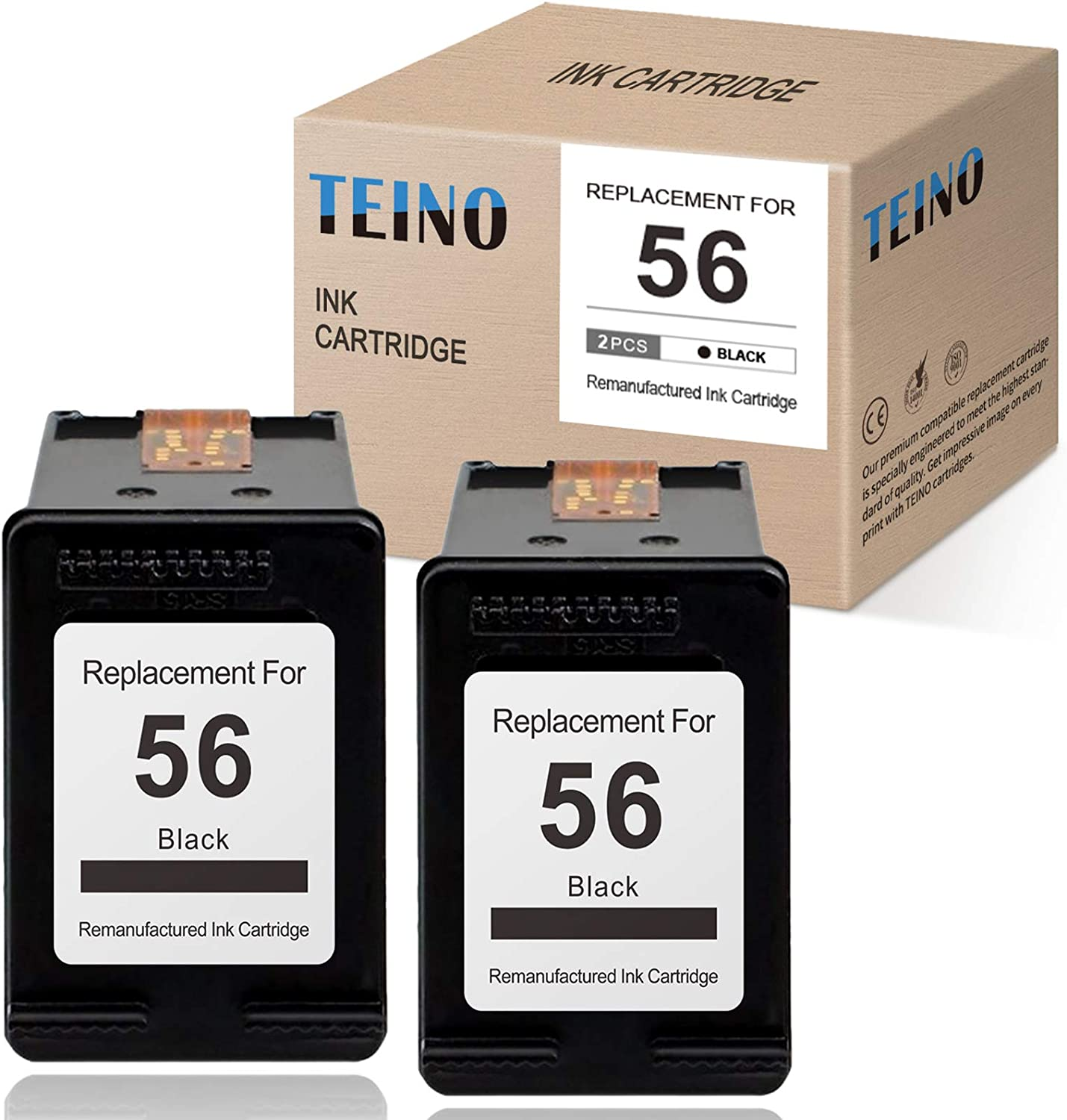 TEINO Remanufactured Ink Cartridge Replacement for HP 56 XL 56XL C6656AN use with HP DeskJet 5650 5550 5150 Photosmart 7760 7550 7450 7350 7260 7960 OfficeJet 5510 PSC 1200 2210 2410 (Black, 2-Pack)