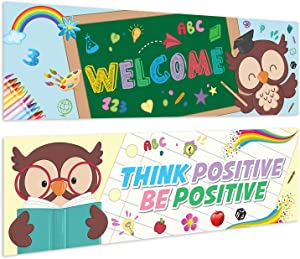 "Sweetzer & Orange Motivational Banners Growth Mindset Posters. ""Welcome OWL"" Set of 2 Double-Sided Motivational Posters, Inspirational Posters, Quote Posters for School Classroom Decorations"