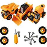 Take Apart Truck Toys Construction Tool Set For Boys and Girls -Toy Truck Set Includes Dump truck, Concrete mixer truck, Forklift truck, Best Gift for Kids Ages 4,5, - 10 Years Old