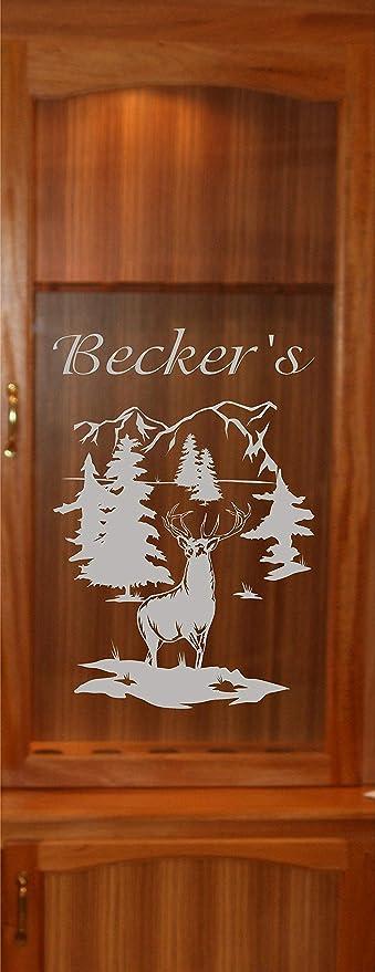 Amazon Com Stickerchef Deer Buck Mountains Diy Etched Glass Vinyl Gun Cabinet Window Front Door Gc07b Kitchen Dining