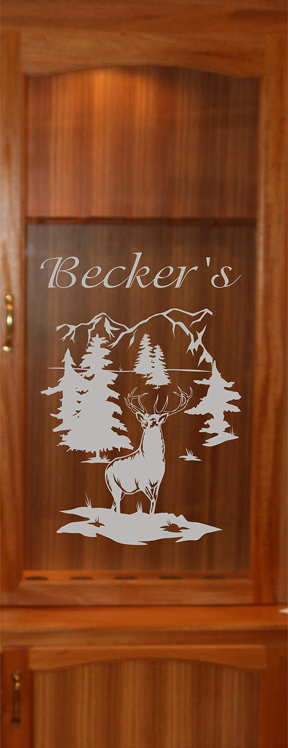 StickerChef Deer Buck Mountains DIY Etched Glass Vinyl Gun Cabinet Window Front Door GC07B by StickerChef