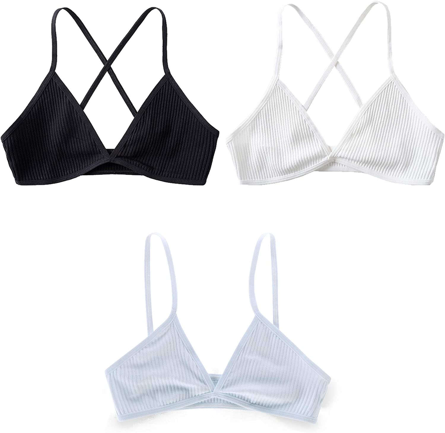Basic triangle ribbed knit bralette with thin straps