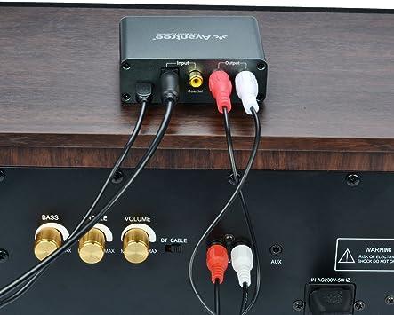 Avantree Convertidor Digital a Analógico, DAC Audio Óptico Conversor, Entrada Audio Óptico/Coaxial, Salida Auricular/Altavoz, Control Volumen, Cable Óptico Incluido, 192 KHz [Garantía 2 años]: Amazon.es: Electrónica