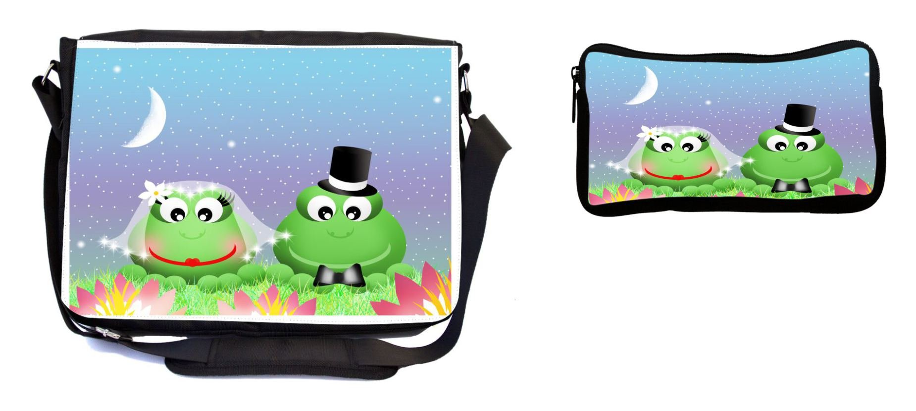 Rikki Knight Frogs in Love Wedding Illustration Design Multifunction Messenger Bag - School Bag - Laptop Bag - with Padded Insert for School or Work - Includes Pencil Case