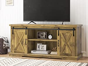 SHA CERLIN Farmhouse TV Stand for 58 Inches TV, Television Stands with Sliding Barn Doors, Entertainment Center and Media Console, Wood TV Console Storage Cabinet for Living Room, Rustic Wood