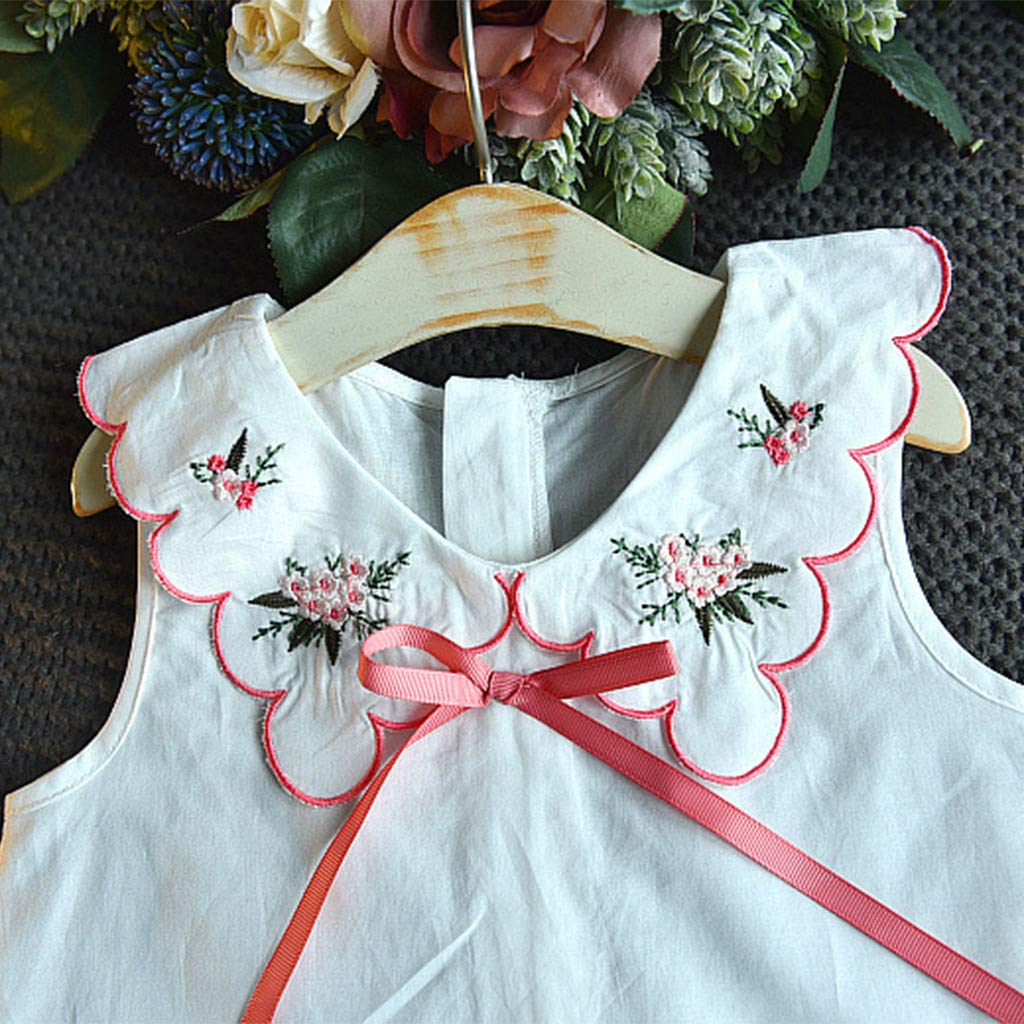 Easter Day Toddler Baby Girl Clothes Set 2-6 Years Old Kids Bow Embroidery Floral Vest Tops Plaid Skirt Outfit