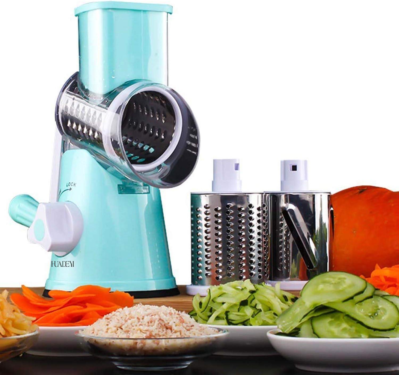 HUADEYIPicadora de Verduras Manual Máquina Multifuncional para Cortar Verduras y Frutas Tipo Tambor Giratorio Rallador de Queso con 3 Cuchillas Giratorias Mandolina Rallador de Zanahoria