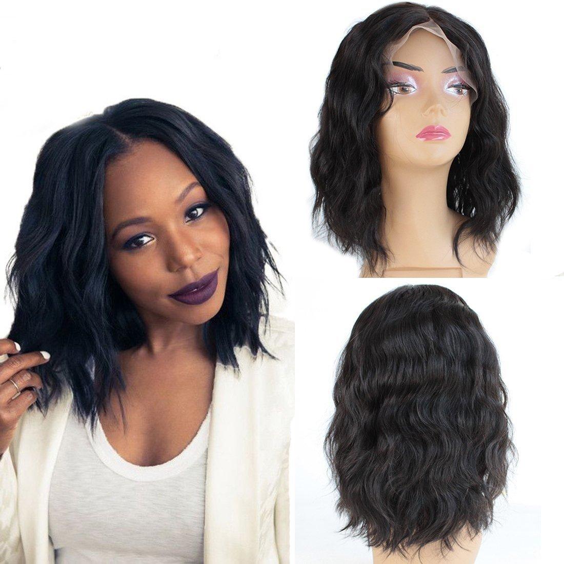 ZanaWigs Perücke aus unbearbeitetem, brasilianischem Echthaar, Lace-Front-Wig, gewellter, schwarzer Bob mit kleinen Baby-Haaren. Zana Hair Factory