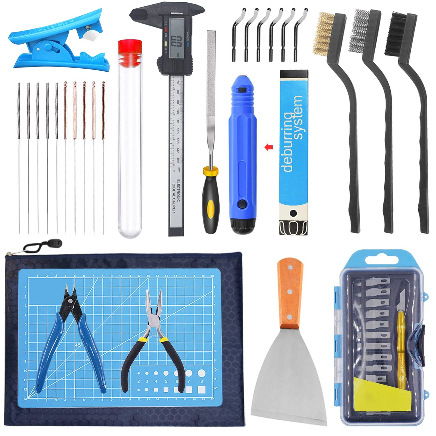 SOOWAY 3D PRINTER TOOL KIT INCLUDES REMOVAL CLEANING SET DEBURR CARVING KNIFE CUTTING MAT FOR MODEL CLEAN UP NEEDLE BRUSH FOR HOTEND CLEANING CALIPERS FULL SET OF 3D PRINT TOOLS