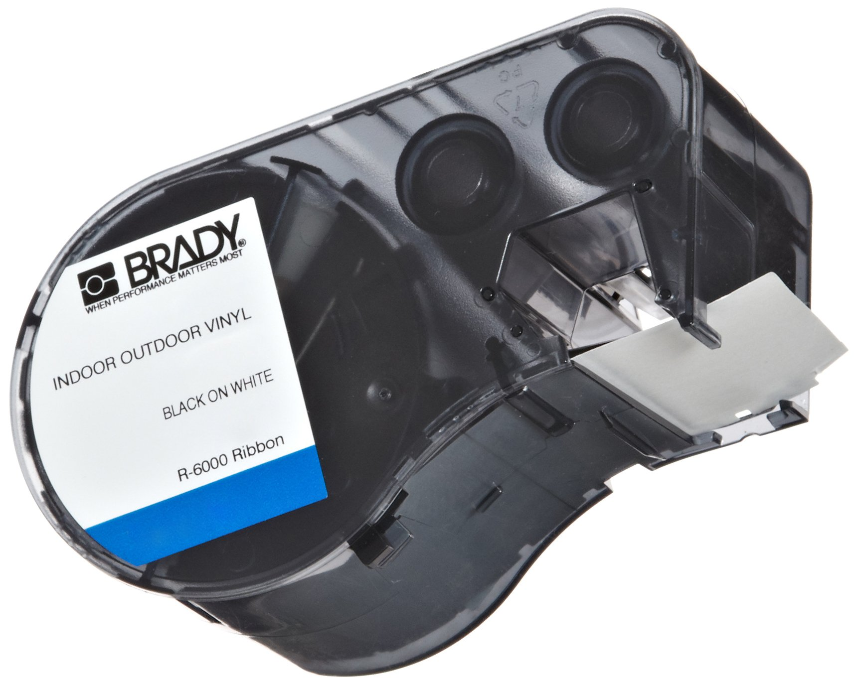 Brady High Adhesion Vinyl Label Tape (MC-1500-595-WT-BK) - Black on White Vinyl Film - Compatible with BMP51 and BMP53 Label Printers - 25' Length, 1.5'' Width