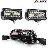 AUSI 7 Inch LED Light Pods, 2 Pcs 120W Spot Flood Combo Beam Triple Row Light Bar Waterproof Led Work Lights&Wiring Harness K