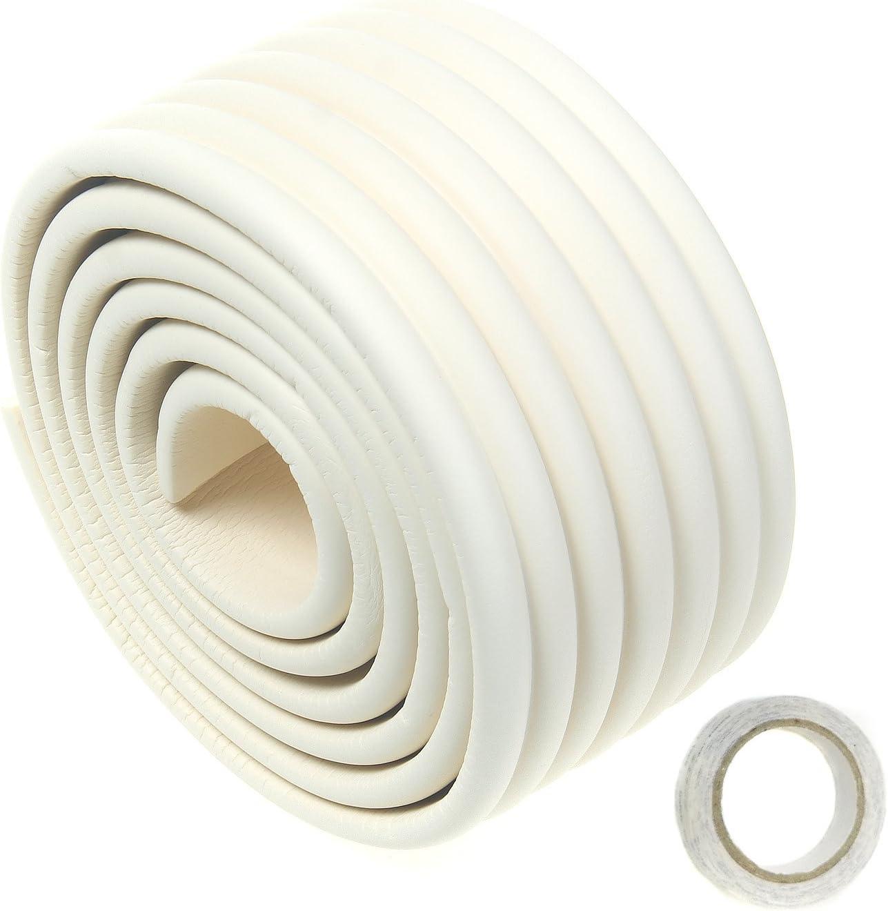 TUKA Multiusos Protector Espuma, 200cm x 80mm x 8mm Universal anticolisión Protector Rollo para Superficie Dura & Bordes, anticolisión Protección Tira para Bebés Niños, Off Blanco, TKD7002 Off Whi