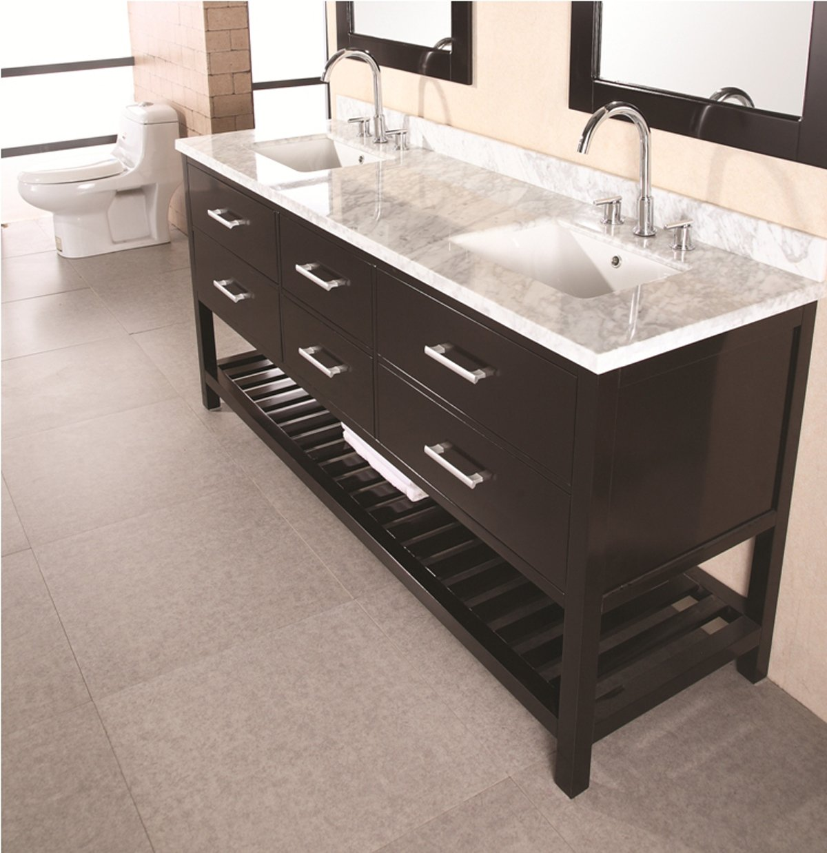 Design Element DEC077B London 72-Inch Double Sink Vanity Set ...