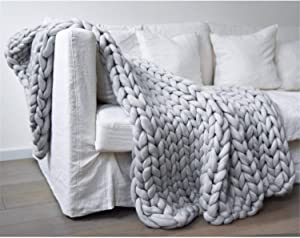 eacho Chunky Knit Blanket Luxury Merino Wool Hand Made Super Bulky Soft Warm Braid Rug Couch Bed Lounge Home Decor Grey 40
