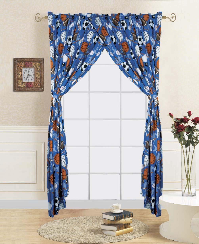 4 Piece curtain set: 2 panels + 2 tie backs sports foot/basket/base ball print kids room