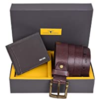 Urban Forest Brian Dark Brown Leather Wallet & Dark Brown Casual Textured Belt Combo Gift Set for Men