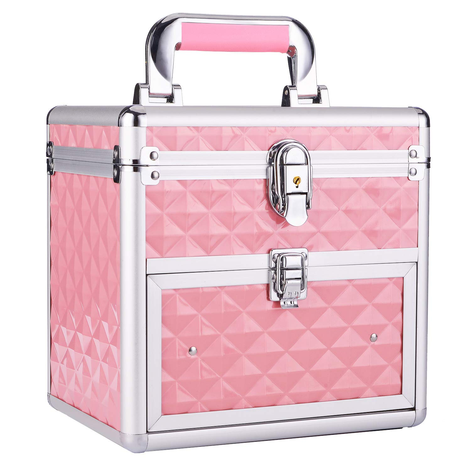 Frenessa Nail Polish Organizer Travel Case Manicure Accessory Storage Makeup Box With Mirror Keys Portable Cosmetic Train Case Jewelry Box with Drawer lockable – Pink