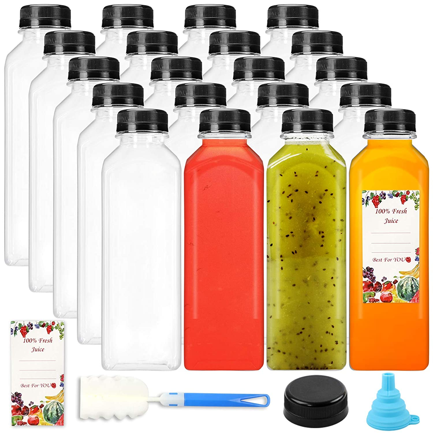 SUPERLELE 16oz 20pcs Empty PET Plastic Juice Bottles Reusable Clear Disposable Containers with Black Tamper Evident Caps Lids for Juice, Milk and Other Beverages
