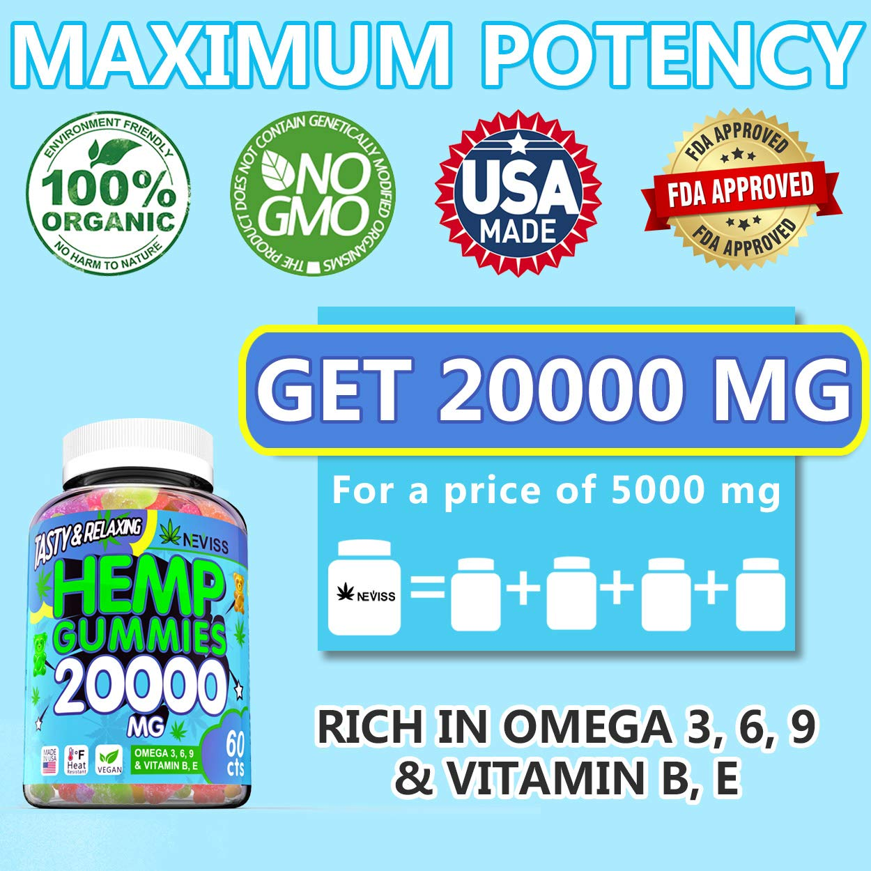 Premium Hémp Gummies 20000 MG - Hémp Gummy Bears Made in USA - Natural Organic Pure Hémp Extract Gummies for Pain, Anxiety & Stress Relief, Sleep, Calm & Immune Support - Rich Vitamins & Omega 3, 6, 9