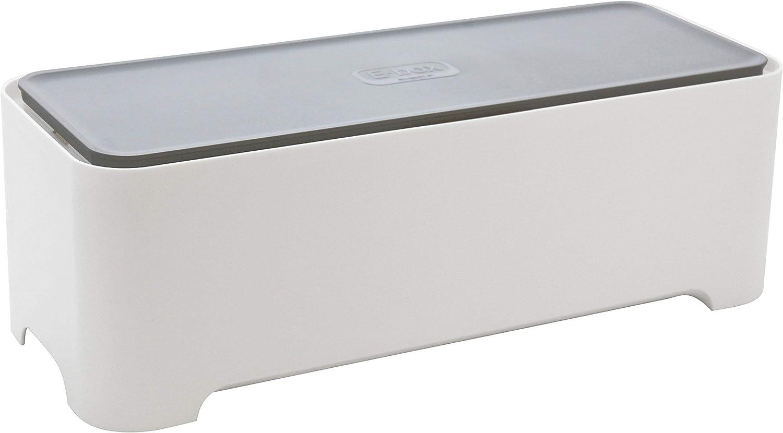 Curver - Caja Ebox Mediana Organizador de Cables Rectangular - Color Blanco / Gris