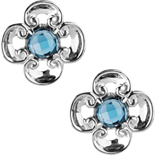 product image for Carolyn Pollack Sterling Silver Purple Amethyst or Blue Topaz Birthstone Gem Button Earring