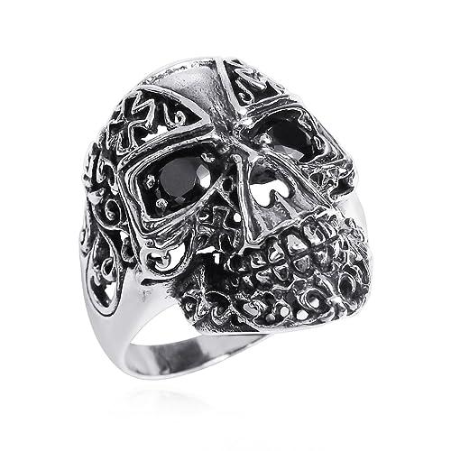 AeraVida Punk Skull Cross Cubic Zirconia Black Eyes .925 Sterling Silver Ring