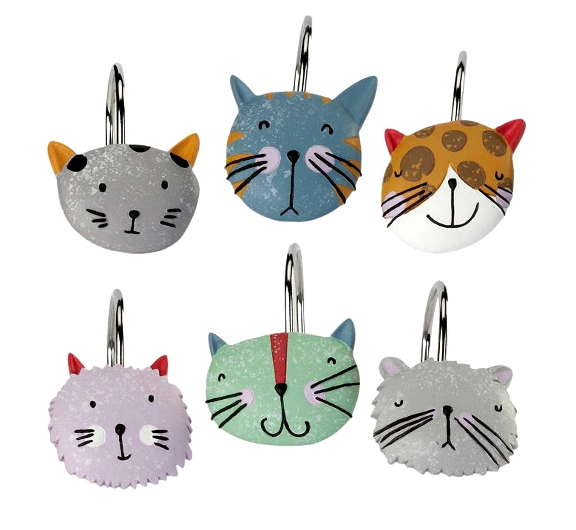 Happy Cats Shower Curtain Hooks 12 Pc Steel