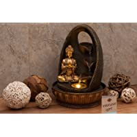 "Water Fountain Buddha Prayer with LED Light / 3 Water Cups / Golden / Indoor / 8.5""x8.5""x12"" 