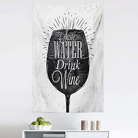 Amazon Com Lunarable Wine Tapestry Save Water Drink Words Wine Glass In Chalkboard Style Retro Design Print Fabric Wall Hanging Decor For Bedroom Living Room Dorm 30 X 45 Black White Home
