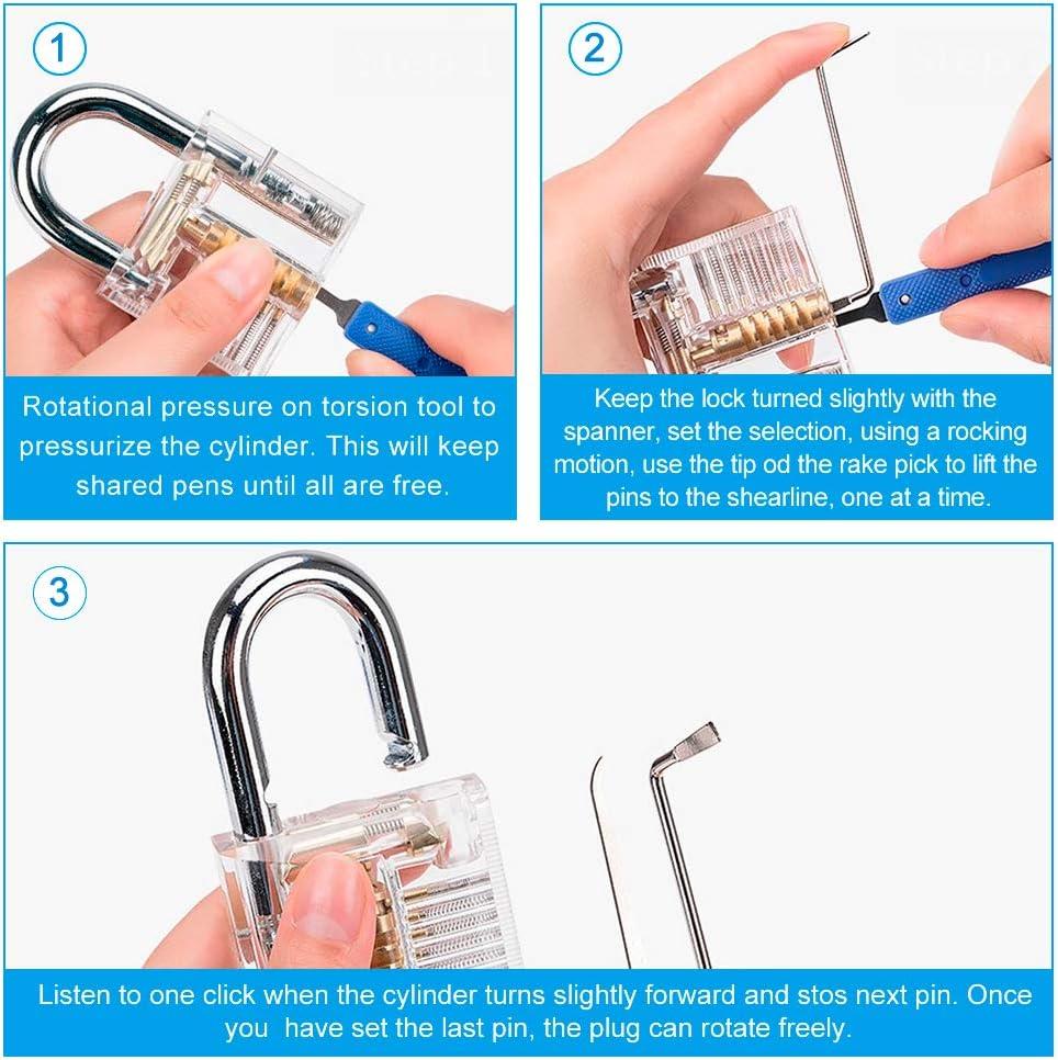 Ertisa Kit de Crochetage Professionnel 24 Psc Lock Picking Kit dentra/înement Outil de D/éverrouillage avec 2 Cadenas dentra/înement Transparents pour Serruriers D/ébutants et Professionnels