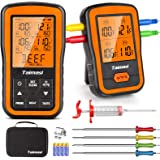 Wireless Digital Meat Thermometer with 4 Probes & Meat Injector, Upgraded 500FT Remote Range Cooking Food Thermometer for Gri