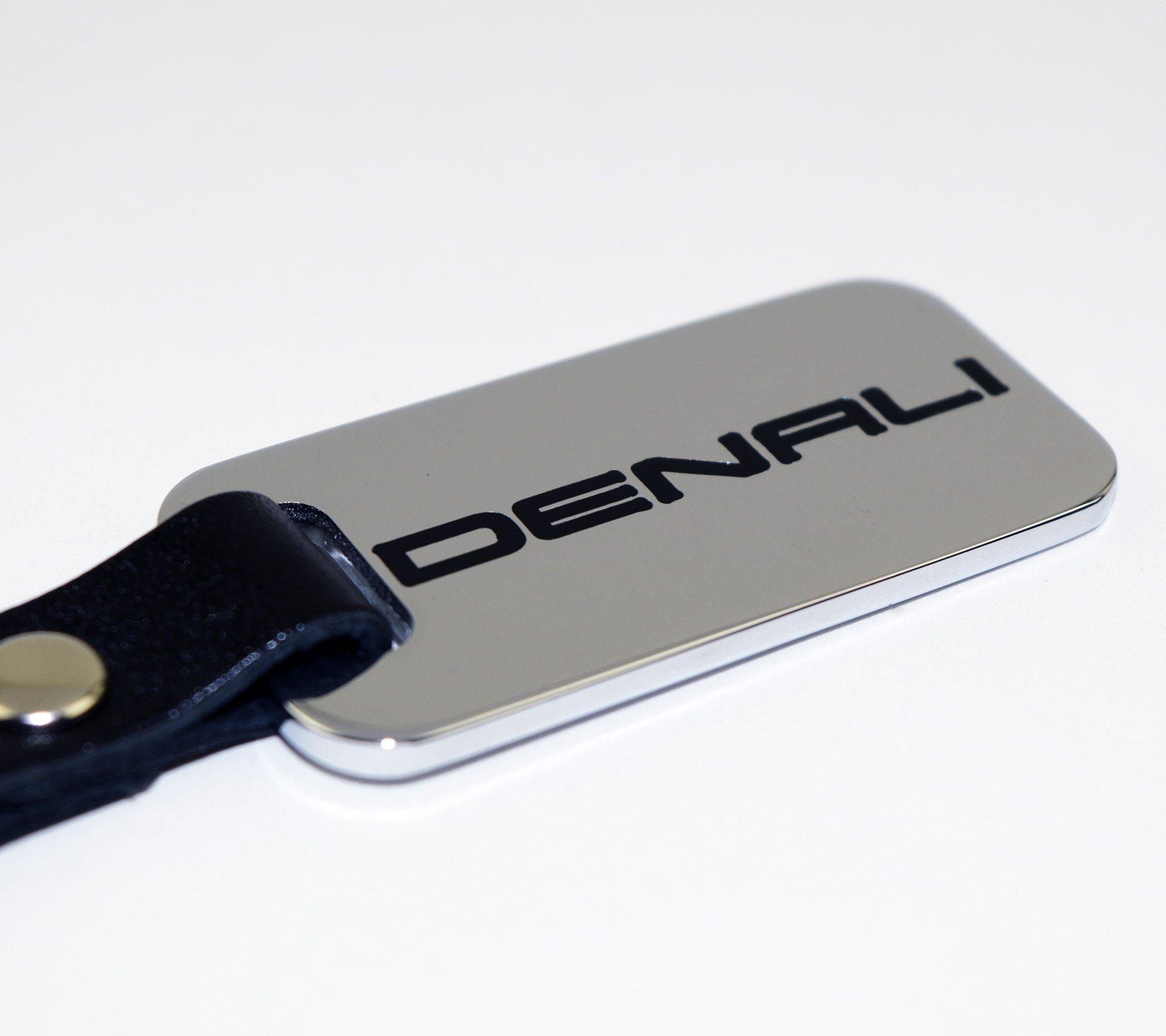 Denali Chrome Key Chain Fob - Engraved Denali Black Logo - Yukon Acadia Terrain Sierra