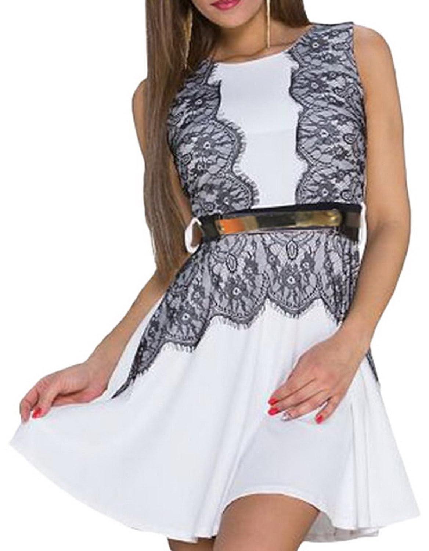 Lukis Damen Rundhals Sommerkleid Spitze Spleiß Cocktailkleid mit Gürtel