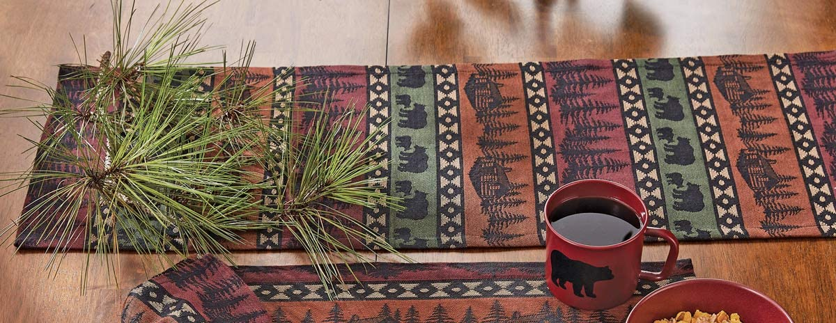 BLACK FOREST DECOR Mountain View Bear Table Runner - 36 Inch
