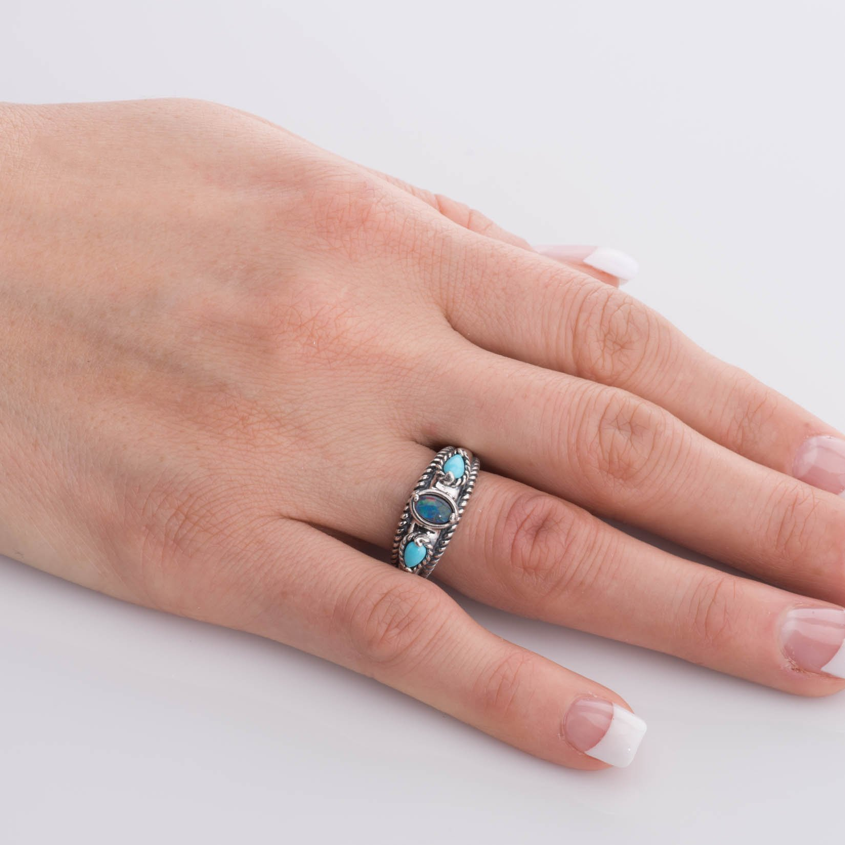 Carolyn Pollack Sterling Silver Sleeping Beauty Turquoise Opal Triple Band Ring,  size  8 by Carolyn Pollack (Image #3)