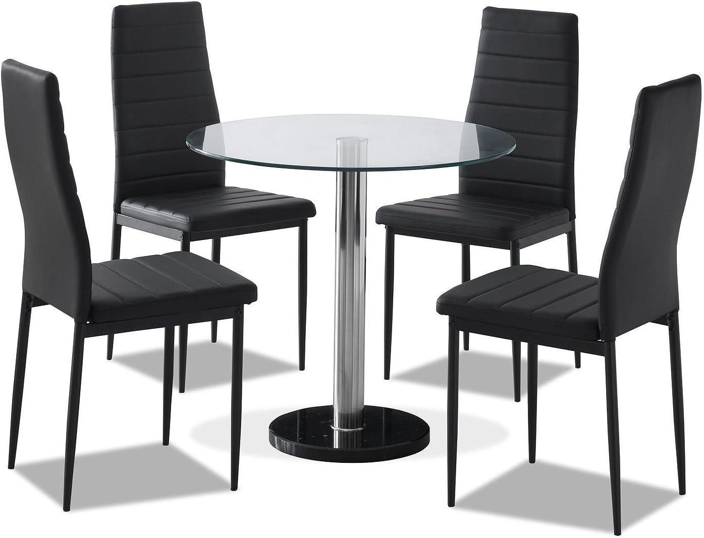 CRAVOG cristal negro juego de mesa de comedor y 4 sillas de piel ...